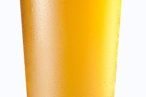Beer glass on white background.
