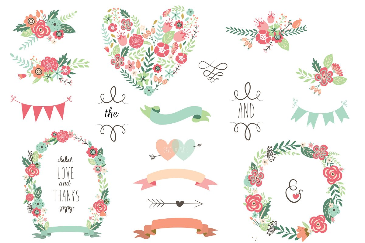 Save The Date Floral Wedding Clipart Custom Designed