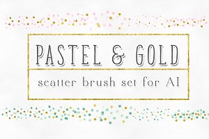 Pastel Gold Confetti Scatter Brushes