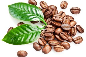 Roasted coffee beans and leaves