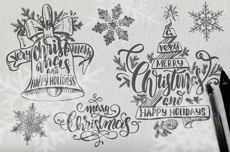 Christmas lettering illustrations creative market