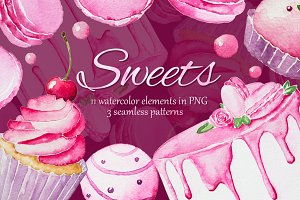 Pink sweets - watercolor collection