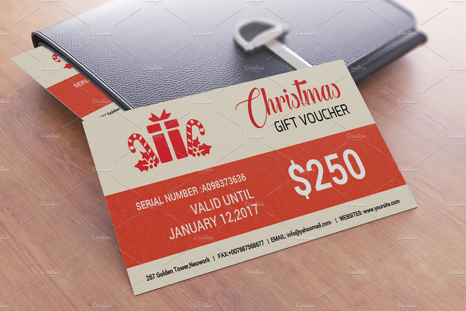 Christmas Gift Voucher template-V03 ~ Stationery Templates ...