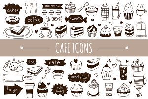 Hand drawn cafe icons + patterns