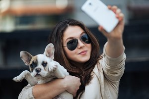 Girl and dog selfie