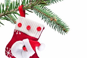 Christmas sock with Santa Claus on on fir branch. White background.
