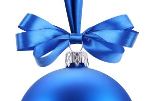 Christmas blue ball on the festive ribbon. This file contains the path to cut.