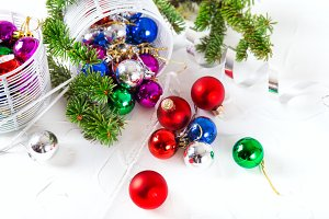Christmas baubles for decoration white background