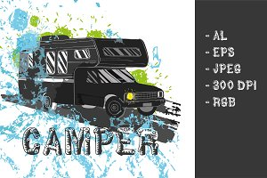 Camper car Poster (vector)