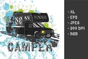 Camper car Poster (vector)