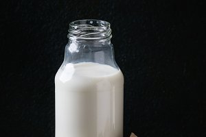 Glass bottle of milk