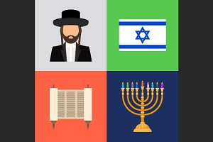 Jewish and judaism symbols