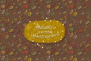 Autumn vector illustration & Pattern