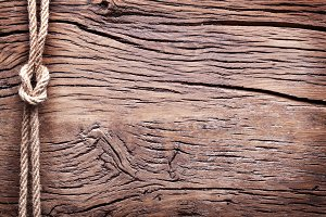 Sailor's knot over old wood