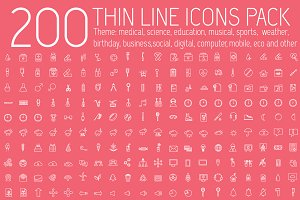 200 thin lines Icons vector set