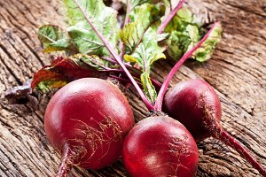 Beet roots on a old wood