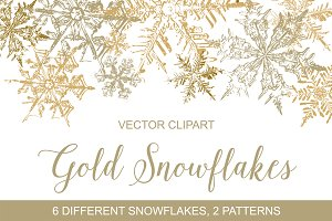 Gold Snowflakes Vector Clipart