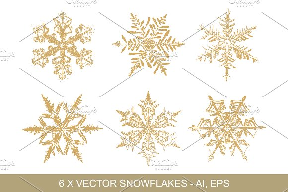 gold snowflakes vector clipart graphic objects creative market