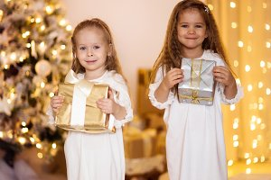 Two sisters with Christmas presents