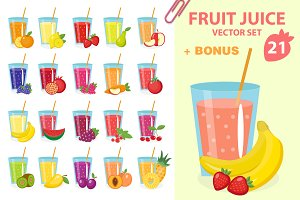 Fresh fruit juices, vector set