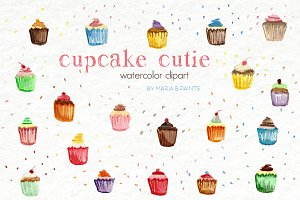 Watercolor Clip Art - Cupcakes
