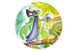 Watercolor little cricket artwork
