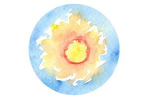 Watercolor sun sunshine sky vector