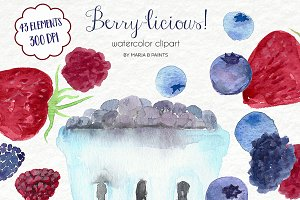 Watercolor Clip Art - Berries