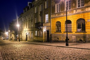 Street in Warsaw at Night