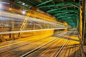 Gdanski Bridge by Night in Warsaw