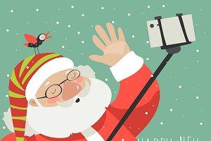 Santa claus making selfie