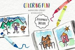 Watercolor Clip Art - Coloring