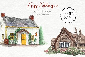 Watercolor Clip Art - Cottages
