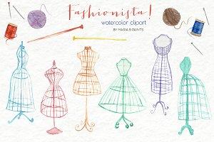 Watercolor Clip Art - Fashion Design
