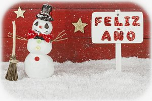 One snowman and a signpost with the words Happy New Year on spanish