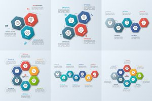 Infographic templates with hexagons