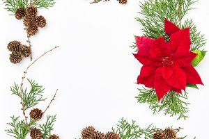 Floral flat lay frame Christmas