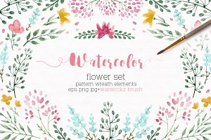 Watercolor floral set +Brushes