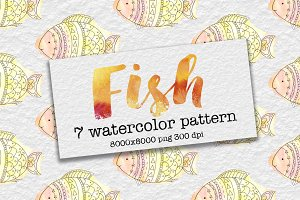 Watercolor funny fish patterns