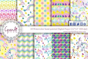 Unicorn watercolor digital paper