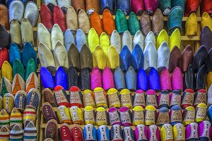 Oriental shoes on display