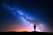 Milky Way. Silhouette of a woman