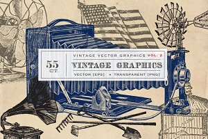 55 Vintage Vectors Graphics Vol. 2