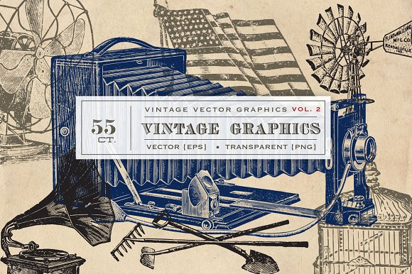 55 Vintage Vectors Graphics Vol. 2 - Objects