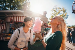 Female friends in amusement park