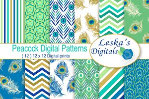 Peacock Digital Paper Patterns