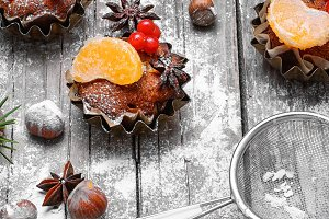 Christmas cupcake with berries
