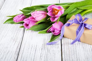 Spring tulips and gift box