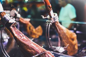 Spanish hamon in Barcelona market