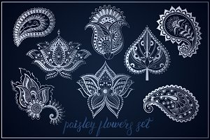 Paisley flowers & leaf Indian set